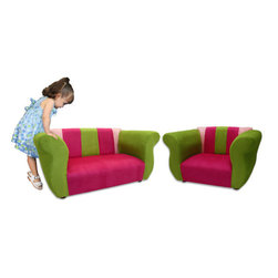 "Fantasy Furniture - Kid's Fancy Microsuede Sofa and Chair Set - The Fancy set with unique and elegant design will enhance the beauty of any room. Both pieces are handmade just like adult pieces of furniture. They have strong wood frame, covered with high density foam to maximize comfort and upholstered with high quality micro suede, to make them durable and easy to clean. This set will be a wonderful mini living room. Your kids will love it! Features: -Sofa and chair.-Upholstered with microsuede fabric.-Strong wood frame covered with high density flame resistant foam.-Use light dishwashing soap and warm water for spot cleaning.-Ages from 18 months to 5 years.-Fancy Microsuede Collection.-Product Type: Chair and sofa.-Collection: Fancy.-Distressed: No.-Powder Coated Finish: No.-Gloss Finish: No.-Frame Material: Pine wood and OSB.-Hardware Material: Metal wire staples.-Solid Wood Construction: No.-Number of Items Included: 1.-Non-Toxic: Yes.-UV Resistant: No.-Fire Resistant: Yes.-Scratch Resistant: No.-Stain Resistant: Yes.-Rust Resistant: No.-Mildew Resistant: No.-Rot Resistant: No.-Insect Resistant: No.-Arms Included: Yes.-Upholstered Seat: Yes -Seat Upholstery Material: Microsuede.-Removable Seat Cushions: No.-Seat Cushion Fill Material: Polyurethane foam.-Removable Seat Cushion Cover: No.-Tufted Seat Upholstery: No.-Welt on Seat Cushions: No..-Upholstered Back: Yes -Back Upholstery Material: Microsuede.-Removable Back Cushions: No.-Back Cushion Fill Material: Polyurethane foam.-Removable Back Cushion Cover: No.-Tufted Back Upholstery: No.-Welt on Back Cushions: No..-Nailhead Trim: No.-Rocker: No.-Swivel: No.-Glider: No.-Reclining: No.-Footrest Included: No.-Stackable: No.-Foldable: No.-Inflatable: No.-Legs Included: Yes -Leg Material: Solid wood.-Protective Floor Glides: Yes..-Casters: No.-Storage Area: No.-Cupholder: No.-Skirted: No.-Ottoman Included: No.-Adjustable Height: No.-Ergonomic Design: No.-Age Recommendation: 18 months to 5 years.-Outdoor Use: No.-Seating Capacity: 3.-Weight Capacity: 75 lbs.-Swatch Available: No.-Commercial Use: No.-Recycled Content: No.-Eco-Friendly: No.-Product Care: Use light dishwashing soap and warm water for more difficult areas.-Convertible: No.Specifications: -FSC Certified: Yes.-CPSIA or CPSC Compliant: Yes.-CARB Compliant: Yes.-Green Guard Certified: No.Dimensions: -Overall Height - Top to Bottom (Sofa) : 18"".-Overall Height - Top to Bottom (Chair) : 18"".-Overall Width - Side to Side (Sofa) : 36"".-Overall Width - Side to Side (Chair) : 28"".-Overall Depth - Front to Back (Sofa) : 17"".-Overall Depth - Front to Back (Chair) : 17"".-Seat Height (Sofa) : 7"".-Seat Height (Chair) : 7"".-Seat Width - Side to Side (Sofa) : 24"".-Seat Width - Side to Side (Chair) : 16"".-Seat Depth - Front to Back (Sofa) : 13"".-Seat Depth - Front to Back (Chair) : 13"".-Legs: -Leg Height: 1.5"".-Leg Width: 2"".-Leg Depth: 2""..-Arms: -Arm Height: 14"".-Arm Width: 7""..-Storage: No.-Drawers: No.-Overall Product Weight (Sofa) : 21 lbs.-Overall Product Weight (Chair) : 16 lbs.Assembly: -Assembly Required: No.-Additional Parts Required: No.Warranty: -Product Warranty: 1 year."