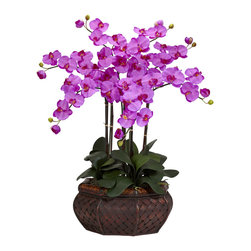 """Nearly Natural - Nearly Natural Large Phalaenopsis Silk Flower Arrangement in Orchid - There is no escaping the distinctive presence of this Phalaenopsis Arrangement when walking into a room! Standing at an impressive 32"""" tall in its beautiful planter, these cheerful blooms, with their even brighter centers, can't help but put a smile on even the most serious of faces. A wonderful gift to share, or to keep one for yourself, this is one plant that will be a can't-miss!"""