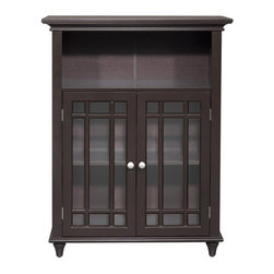Elegant Home Fashions - Elegant Home Neal Double Door Floor Cabinet Multicolor - ELG-558 - Shop for Cabinets from Hayneedle.com! You can take the bet - you know your odds of getting compliments are good when you have the Elegant Home Neal Double Door Floor Cabinet in your bathroom. The perfect storage place for items that you want at the ready this gorgeous Mission style cabinet has the look you'll love. Crisp and clean the tempered glass is accented by slat details that open to reveal an adjustable shelf. The open cubby is the perfect place to display accents that make your bathroom a cozy space. Dark and lovely the espresso finish and lavish crown molding are details that can't be beat.