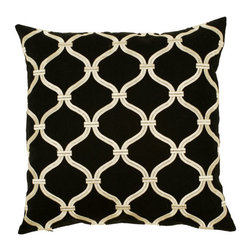 Movie Star Trellis Throw Pillow - The pale gold trellis print of this throw pillow winds itself across a rich black surface. 50% cotton and 50% linen combine to create the softness and thick resolution of a movie star on the big screen, adorning your room with grace, boldness, and artistic luminosity.