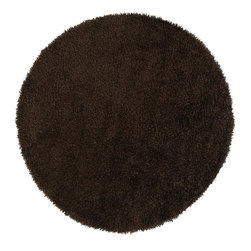 Surya - Surya Vivid Hand Woven Brown Plush Polyester Round Rug, 10' - Shag with some sizzle! These 1% polyester shags are not for the faint of heart. Coming in a 8 hot colors, the Vivid Collection is sure to add some splash to your homes look. Several scatter sizes have been added to compliment larger sized rugs. Imported.Material: 100% PolyesterCare Instructions: Blot Stains