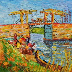 "overstockArt.com - Van Gogh - Langlois Bridge at Arles with Women Washing - 8"" X 10"" Oil Painting On Canvas Hand painted oil reproduction of a famous Van Gogh painting, Langlois Bridge at Arles with Women Washing. The original masterpiece was created in 1888. Today it has been carefully recreated detail-by-detail, color-by-color to near perfection. Vincent Van Gogh?s restless spirit and depressive mental state fired his artistic work with great joy and, sadly, equally great despair. Known as a prolific Post-Impressionist, he produced many paintings that were heavily biographical. This work of art has the same emotions and beauty as the original. Why not grace your home with this reproduced masterpiece? It is sure to bring many admirers!"