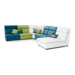 Colorful Sofas - Italian Modern Leather & Fabric Sectional Sofa