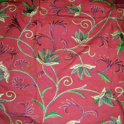 Crewel Fabric World by MDS - Crewel Fabric Ivy League Terracota Cotton Duck- Yardage - Fabric Type: Cotton Duck