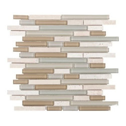 Bliss Spa Linear Blend Glass and Stone Mosaic -