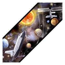 Store51 LLC - Outer Space Shuttle Travel Set of 4 Self-Stick Wall Borders - Features: