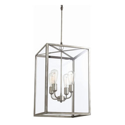 Arteriors - Savannah Iron Pendant - Make this fixture the streamlined ceiling centerpiece of your favorite modern setting. Its brilliant design fits an iron chandelier inside a glass lantern for a lively, unfussy effect.