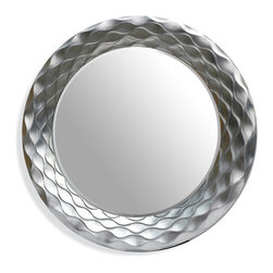 Bassett Mirror - Bassett Mirror Glissando Wall Mirror - The rippling texture of this silver mirror evokes an almost organic tone akin to snakeskin or leather. Paired with modern decor and furniture it will transform your entryway into an exquisite space.