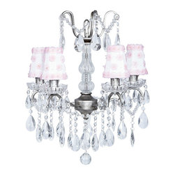 Glass Center Pewter Chandelier with Petal Flower Shades in Pink and White - This pretty pewter crystal glass center chandelier features petal flower white and pink shades.