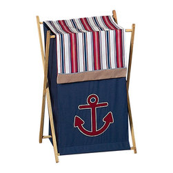 Sweet Jojo Designs - Nautical Nights Hamper - The Nautical Nights laundry hamper will help complete the look of your Sweet Jojo Designs room. This adorable laundry clothes hamper includes a wooden frame, mesh liner and fabric cover. The removable hamper body is secured to the wooden frame with corner loops and Velcro. The wooden stand folds flat for space-saving storage and the removable mesh liner is great for toting laundry.