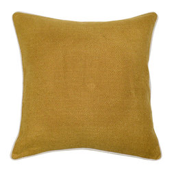Villa Home Collection - Willow Basket Mustard, Set of 2 - Beautifully handmade and hand woven, each pillow is made with a quality fill of 95% feather and 5% down. The Villa Home collection offers a variety of colors, textures and accents that will add a feeling of luxury to your home.  The Willow pillow is 100% Linen.