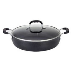 "T-Fal/Wearever - T-Fal 12""Deep Everyday Pan - 12"" Deep Cov. Everyday Pan. 5qt Capacity Total non-stick Everyday pan with silicone loop handles and Glass lid with venting hole"
