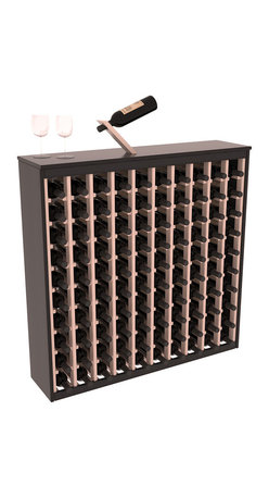 Two Tone 100 Bottle Deluxe Wine Rack in Redwood with Black/White Stain - Styled to appear as wine rack furniture, this wooden wine rack will match existing decor while storing 100 bottles of wine. Designed to look like a freestanding wine cabinet, the solid top and sides promote the cool and dark storage area necessary for aging wine properly. Your satisfaction and our racks are guaranteed.  All Two-Tone racks include a professional grade eco-friendly satin finish and come with a free matching magic bottle balancer.