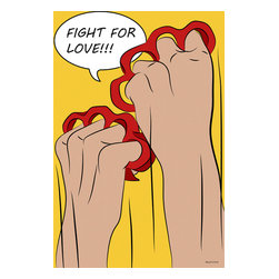 """Maxwell Dickson - Maxwell Dickson """"Fight for Love""""  Pop Art Canvas Artwork Wall Art Print - We use museum grade archival canvas and ink that is resistant to fading and scratches. All artwork is designed and manufactured at our studio in Downtown, Los Angeles and comes stretched on 1.5 inch stretcher bars. Archival quality canvas print will last over 150 years without fading. Canvas reproduction comes in different sizes. Gallery-wrapped style: the entire print is wrapped around 1.5 inch thick wooden frame. We use the highest quality pine wood available."""
