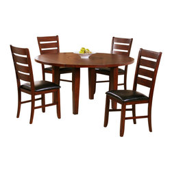 Homelegance - Homelegance Ameillia 5 Piece Drop Leaf Round Dining Room Set - Blending the clean lines of Arts & Crafts with functional movement, the Ameillia Collection is a solid addition to your casual dining space. The drop-leaf table features a lazy-susan making mealtime service a breeze. Substantial tapered legs and birch veneer in a dark oak finish complement this simple and refined dining option.