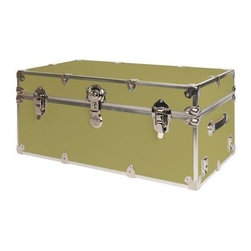 Rhino - Rhino Armor Storage Trunk in Beige (Small: 30 - Choose Size: Small: 30 W x 16 D x 12.5 H (24 lbs.)Two nickel plated steel universal wheel adapter plates mounted on the side of the trunk. Laminated armor exterior. Strong hand-crafted construction using both old world trunk making skills and advanced aviation rivet technology. Steel and aluminum aircraft rivets used to ensure durability. Heavy duty proprietary nickel plated steel hardware. Steel lid hinges and steel lid stay for keeping the lid propped open. Tight fitting steel tongue and groove lid to base closure to keep out moisture, dirt, insects and odors. Stylish lockable nickel plated steel trunk lock. Loop for attaching a padlock. Genuine leather handles. American craftsmanship. Self-sticking adhesive on the back of the name plate. Upper or lower case lettering. Lettering is in black. The name plate can take 24 characters per line. The max number of lines is 2. Warranty: Lifetime warranty includes free non-cosmetic repairs for the life of the trunk. Made from smooth 0.38 in. premium grade Baltic birch hardwood plywood. No paper or plastic lining anywhere avoiding peeling or tearing. Name plate made from plastic. No assembly required. Name Plate: 3 in. L x 1 in. H (0.5 lbs.)The hand-crafted American Made Rhino Armor Cube is constructed from the highest quality components. Rhino Armor is an exterior 1000d Cordura Nylon textured sheathing that's highly resistant to water penetration, denting and scratching. The Rhino Armor Cube is conveniently sized and ruggedly built. In fact, its strong enough to stand on ! The Rhino Armor Cube is easily stowed and can be securely locked to insure the safety of personal items. The Rhino Armor Cordura sheathing ensures that Rhino Armor Cubes have the most durable exterior available in the trunk industry. Rhinos brushed bright metal finish name plates are a great addition to any Rhino Trunk. Most people put their full name on, but its your choice. You can have your name on one or two lines. You can place the name plate anywhere you like on the Rhino Trunk.