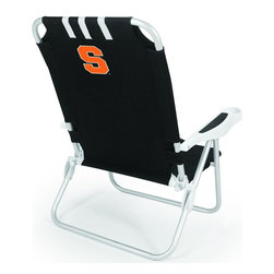 "Picnic Time - Syracuse University Monaco Beach Chair Black - The Monaco Beach Chair is the lightweight, portable chair that provides comfortable seating on the go. It features a 34"" reclining seat back with a 19.5"" seat, and sits 11"" off the ground. Made of durable polyester on an aluminum frame, the Monaco Beach Chair features six chair back positions and an integrated cup holder in the armrest. Convenient backpack straps free your hands so you can carry other items to your destination. Rest and relaxation come easy in the Monaco Beach Chair!; College Name: Syracuse University; Mascot: Orange; Decoration: Digital Print"
