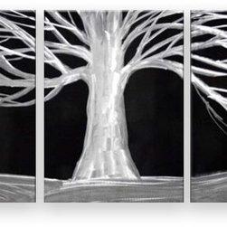 Matthew's Art Gallery - Metal Wall Art Modern Landscape Contemporary 3 Panels White Black Tree - Name: White Tree on Black