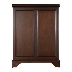 Crosley - LaFayette Expandable Bar Cabinet in Vintage Mahogany Finish - Constructed of solid hardwood and wood veneers, this Expandable Bar Cabinet is designed for longevity. The beautiful raised panel doors provide the ultimate in style to dress up your home. The doors open and top folds out to double the size of your entertaining / serving area. Inside the doors, you will find plentiful storage space for spirits, glassware, and a host of other bar items. The center cabinet features 16 bottle wine storage, utility drawer, hanging stemware storage, and extra space for a variety of other barware.