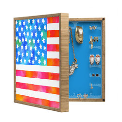 DENY Designs - Betsy Olmsted Old Glory Patriot  BlingBox Petite - Handcrafted from 100% sustainable, eco-friendly flat grain Amber Bamboo, DENY Designs BlingBox Petite measures approximately 15 x 15 x 3 and has an exterior matte cover showcasing the artwork of your choice, with a coordinating matte color on the interior. Additionally, the BlingBox Petite includes interior built-in clear, acrylic hooks that hold over 120 pieces of jewelry! Doubling as both art and an organized hanging jewelry box, It's bound to be the most functional (and most talked about) piece of wall art in your home! Custom made in the USA for every order.