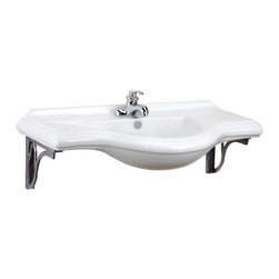 """Renovators Supply - Wall Mount Sinks White Extra Large Bayside Sink For 4"""""""" Faucet   14184 - Our EXTRA LARGE size Bayside is space-saving by design as it mounts to the wall. Our gray metal supports combine function and elegance. Splashguard rim and overflow prevent water damaged walls and floor. Accepts compact 4 inch center set faucet, sold separately. Measures 41 1/2 inches wide."""