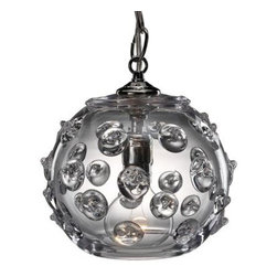 "Juliska - Juliska Lighting: Florence Small Globe Pendant - Juliska Lighting: Florence Clear Small Globe Pendant Light 8""  #B225F/C  6 ft chain and wire.  The Juliska Pendants do offer a lot of light so not only beautiful but functional.  Please use a 60 watt bulb or less."