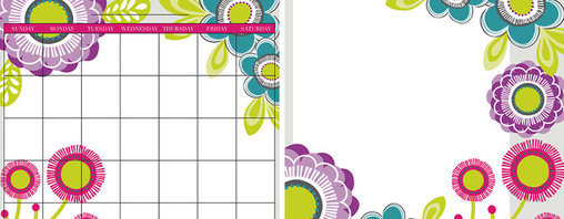 """WallPops - Poppy Dry-Erase Board/Calendar Combo Wall Decal - The Poppy Flower Dry-Erase Board and Calendar is the perfect pair to keep you organized in style. This dreamy set allows you to arrange the calendar and message board wherever you want, even in separate spaces. Keep track of dates, write notes, or draw cute pictures on this dry-erase set, it is easy to wash off and start anew. Pink, purple, and blue poppies in bold colors make your plans pretty. The calendar and message board are each 13"""" x 13""""."""