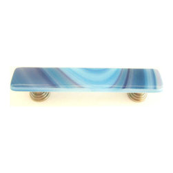 Uneek Glass Fusions - Blue Rasberry Swirls Fused Glass Pull - Collection: Liscio