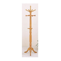 Coaster - 72.75 in. Coat Rack - This stately and distinctive Oak wood coat rack displays classic turned styling and glows with a warm and refreshing Oak finish. The stand offers multiple coat hooks plus a set of midsection mounted hooks that hold umbrellas at just the proper height. * Turned post. Three tiers of coat cooks that march along the intricately carved post. Pedestal base. Warm oak finish. 19.75 in. W x 19.75 in. D x 72.75 in. H. WarrantyPlace this coat rack in your hall or entryway for a stylish greeting for guests.