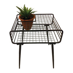 Steel Garden Side Table - Inspiration blooms from this handsome steel table. A criss-crossing bar pattern makes the table heavy-duty, but still airy enough for indoor/outdoor use. But its high point is in the surprising opening, which is outfitted with a terra cotta pot perfect for growing your favorite patio or house plant.