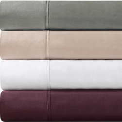 JLA Home - JLA Home Madison Park 600TC Pima Solid Cotton Sheet Set - PC20-140 - Shop for Sheets from Hayneedle.com! Does it get any better than the JLA Home Madison Park 600TC Pima Solid Cotton Sheet Set? This set is pure luxury constructed of 100% 600-thread count pima cotton for supreme comfort. Each set available in your choice of size and attractive color options comes complete with one fitted sheet one flat sheet and two pillowcases. An 18-inch sheet depth makes this set perfect for just about any of today's mattresses. To keep this set as lovely as the day you buy it be sure to machine-wash in cold water on the gentle cycle avoid bleach and then tumble dry on low for best results. Now go! Choose your size and color and get set for some very sweet dreams while wrapped in this serene sheet set!
