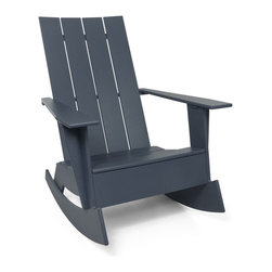Loll Designs - 4 Slat Flat Standard Adirondack Rocker, Charcoal Grey - Now you can gently rock the day away in this updated Adirondack chair. Whether you're on a seaside porch or a backyard deck, nothing says carefree living like this chic rocker.