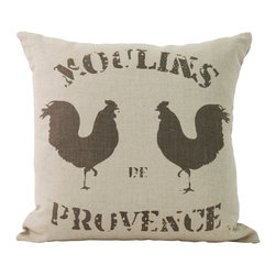 """Zentique - Rooster Pillow - This piece is a natural linen pillow with the print """"Moulin's Provence"""" with two roosters."""