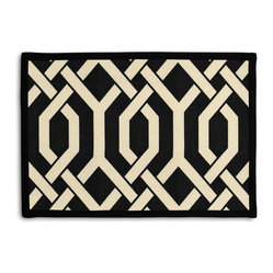 Black Angular Trellis Tailored Placemat Set - Class up your table's act with a set of Tailored Placemats finished with a contemporary contrast border. So pretty you'll want to leave them out well beyond dinner time! We love it in this
