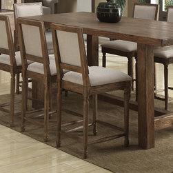 "Emerald Home Furnishings - Bellevue Square Back Bar Stool (Set of 2) - Features: -Bellevue collection. -Material: Solid ash with elm veneers. -Finish: Rustic Pine and Natural Elm. -Upholstered seat and back. Dimensions: -40"" H x 19"" W x 19"" D."