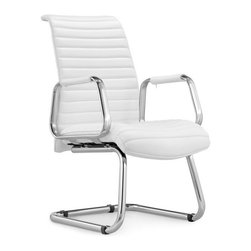 White Line Imports - Oxford Visitor Office Chair in White Leatherette - Designed according to modern office's requirements, the Oxford visitor office chair comes with white leatherette upholstery, durable chrome aluminum base, high density foam seat and chrome armrests with leatherette arm pads.