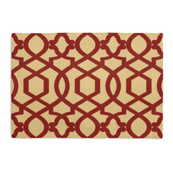 Red Velvet Flocked Trellis Custom Placemat Set - Is your table looking sad and lonely? Give it a boost with at set of Simple Placemats. Customizable in hundreds of fabrics, you're sure to find the perfect set for daily dining or that fancy shindig. We love it in this red velvet flocked trellis in on dark cream cotton that adds subtle texture & warmth to your room.