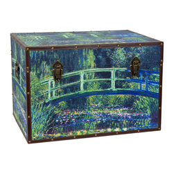 Oriental Furniture - Monet's Garden Art Trunk - This trunk lovingly reproduces Claude Monet's painting of the Japanese Bridge in his garden at Giverny. With its graceful Japanese design and almost luminescent turquoise, this wisteria-flanked bridge was one of Monet's favorite subjects and featured in many of his most iconic paintings. The symmetry of the bridge and the surrounding garden has been transferred wonderfully to the dimensions of this splendid chest. Gracefully reproduced on art-quality canvas, the colors of the bridge and water lilies stand out in vivid detail. Artful wood construction provides ample storage at a minimal weight, while the durable frame and soft fabric interior protect your objects from damage. Further conveniences include an inconspicuous interior arm that holds the lid when you need the trunk open, and a pair of external closures that keep it shut tight when you don't. A masterpiece of design, this art trunk is sure to bring the same beauty that inspired Monet to your home!