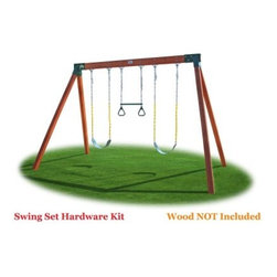 "Eastern Jungle Gym Classic A-Frame Swing Set Hardware Kit - You'll be a real hero to your kids when you build them their very own swing set. The Eastern Jungle Gym Classic A-Frame Swing Set Hardware Kit is the strongest safest easiest way for you to construct an A-frame swing set for your kids. This kit comes complete with two sling swings one gym ring trapeze bar combo two easy 1-2-3 A-Frame swing set brackets and all assembly hardware and instructions. The easy 1-2-3 bracket system makes building your swing set a hassle-free project. Our brackets are the strongest safest and easiest to install. Simply slide your lumber into the brackets and screw the lag bolts - it's that easy! You will be amazed by how quickly you are able to complete your project. Hardware kit includes all assembly hardware and instructions. Kit Includes: Includes 2 Green Sling Swings with Yellow Plastisol Coated Chains and 1 Green Gym Ring Trapeze Bar Combo with Yellow Plastisol Coated Chains Includes 2 Easy 1-2-3 A-Frame Brackets 6 Heavy Duty Ductile Swing Hangers and 6 Snap Hooks All assembly hardware included All swing set swings are fully assembled with chains attached Features Plastisol coated straight coil swing chains that are stronger than rope designed for soft gripping and ""pinch-free"" Completed Swing Set Dimensions: 12'L x 8'D x 7'8""H Recommended Wood List: 1- 4'x6'x10' and 4 - 4'x4'x8' (Not Included) Please note: When using two pieces of 2x6 for the swing beam there will be a gap in the bracket. You will need to fill the gap with a small piece of .5-inch material before lag bolting. About Eastern Jungle Gym Inc.Eastern Jungle Gym was founded over 16 years ago by a family intent on building a strong safe and fun jungle gym that would last for years and could be installed almost anywhere. Since the creation of their very first jungle gym in a small shop behind the family home Eastern Jungle Gym has become one of the industry leaders in the backyard playset market. Their products are synonymous with quality strength and value and are available in many configurations to suit your family's swing set needs. A proud member of IPEMA (International Play Equipment Manufacturers Association) Eastern Jungle Gym voluntarily complies with the CPSC (Consumer Product Safety Commission) and ASTM (American Society of Testing Materials) guidelines for playground safety."