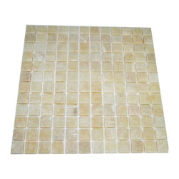 """Marbleville - Honey Onyx 1"""" x 1"""" Tumbled Finish Mesh-Mounted Mosaic in 12"""" x 12"""" Sheet - Premium Grade Honey Onyx 1"""" x 1"""" Tumbled Finish Mesh-Mounted Onyx Mosaic is a splendid Tile to add to your decor. Its aesthetically pleasing look can add great value to any ambience. This Mosaic Tile is made from selected natural stone material. The tile is manufactured to high standard, each tile is hand selected to ensure quality. It is perfect for any interior projects such as kitchen backsplash, bathroom flooring, shower surround, dining room, entryway, corridor, balcony, spa, pool, etc."""
