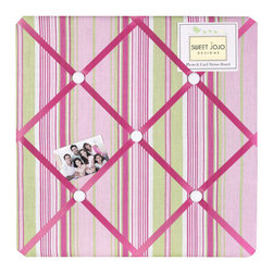 Sweet Jojo Designs - Jungle Friends Stripe Fabric Memo Board - The Jungle Friends Stripe Fabric Memo Board with button detail is a great way to display photos, notes, and postcards on your child's wall. Just slip your mementos behind the grosgrain ribbon to create an engaging piece of original wall art. This adorable memo board by Sweet Jojo Designs is the perfect accessory for the matching children's bedding set.