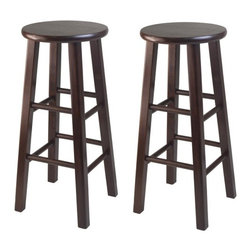 "Winsome - Square Leg Bar Stool Set - Features: -Set of 2. -Solid wood construction. -Warm antique walnut. -Square leg. -Bevel seat provides comfort seating. -Dimensions: 29.13"" H x 13.19"" W x 13.19"" D."