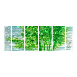 Pure Art - Bamboo Blessings Metal Wall Art Set of 6 - Bright green bamboo sliced by streaks of silver on a sky blue background gives an abstract view. This six panel metal wall hanging is the ideal choice for bringing a bit of contemporary style into the home. This fabulous grouping is crafted of hand painted aluminum using top quality materials. Panels can be securely mounted to walls using brackets on back of each pieceMade with top grade aluminum material and handcrafted with the use of special colors, it is a very appealing piece that sticks out with its genuine glow. Easy to hang and clean.