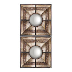 "Uttermost - Accent Uttermost Euthalia 19"" Square Wall Art Set of 2 - Arrange these two square wall art designs together apart for an equally stylish look. Hand-forged metal construction is finished in a rich bronze finish for a warm look. Convex mirrors add depth and character to complete the look. Wall art set. Set of 2. Hand-forged metal construction. Rustic bronze finish with silver undertones. Convex mirrors. 19"" square. 3"" deep.  Wall art set.  Set of 2.  Hand-forged metal construction.  Rustic bronze finish with silver undertones.  Convex mirrors.  19"" square.  3"" deep."