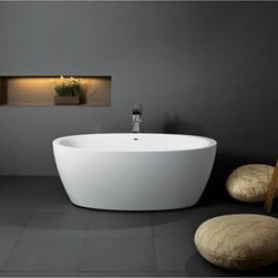 """Aquatica - Aquatica Sensuality Freestanding AquaStone Bathtub - White - The Sensuality AquaStone bathtub by Aquatica explores the heights of relaxation through the decadent depths of its basin. Crafted in Europe, this bathtubs luxurious deep water level and smooth silhouette make it as pleasing to soak in as it is to look at. Though its lines are distinctly European, this piece easily finds a home in many a design scheme around the world. There is no single element of a bathroom that denotes style and elegance so succinctly as an Aquatica freestanding bathtub. Challenge the ordinary and soak in the luxury you deserve.Aquatica's bathtubs offer modern glamour at affordable prices. The Aquatica line is diverse enough to encompass both bathtubs with classical elegance that match the style of your bath and bathtub models that are distinctive and unique as the centerpiece of your remodel.FeaturesStriking upscale modern designFreestanding constructionSolid, one-piece construction for safety and durabilityExtra deep, full-body soakErgonomic design forms to the bodys shape for ultimate comfortQuick and easy installationAquaStone material provides for excellent heat retention and durabilityVelvety texture which is warm and pleasant to the touchHypoallergenic white surfaceColor is consistent throughout its thickness not painted onColor will not fade or lose its brilliance overtimeBuilt-in overflow drain and preinstalled pop up waste drain includedDesigned for one or two person bathingNon-porous surface for easy cleaning and sanitizingAdjustable height legs100% recyclable and fire-resistantMatching white stone coated drain25 Year Limited WarrantyCode compliant with American standard 1.5"""" waste outletsSpecificationsOverall Dimensions: 70 in. L X 35 in. W X 25.5 in. HDepth to Overflow Drain: 17.25 in.Interior Depth: 19.7 in.Interior Length (Top): 64.5 in.Interior Width (Top): 32.7 in.Interior Length (Bottom): 43.75 in.Interior Width (Bottom): 18.9 in.Weight: 231 lbsCapacity: 74 G"""