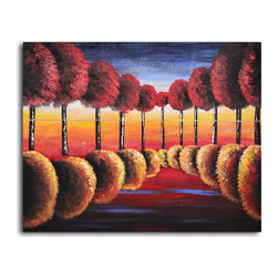 """My Art Outlet - Hand Painted """"Red to gold reflections"""" Oil Painting - Size: 32"""" x 40"""" (32"""" x 40""""). Enjoy a 100% Hand Painted Wall Art made with oil paints on canvas stretched over a 1"""" thick wooden frame. The painting is gallery wrapped and ready to hang out of the box. A very stylish addition to any room that is sure to get the attention of guests."""