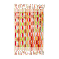 Turkish Bath Mat, Candy Dot Pink - luxurious 100% yarn dyed Turkish cotton from Michele Keeler Home, individually loomed to perfection and finished with hand-tied fringes.