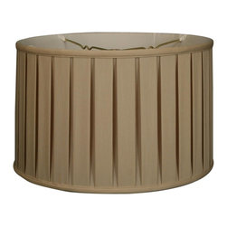 """""""Royal Designs, Inc"""" - """"Shallow Drum English Box Pleat Basic Lampshade - Beige 17 x 18 x 11.5, 6-way"""" - """"This Shallow Drum English Box Pleat Basic Lampshade is a part of Royal Designs, Inc. Timeless Basic Shade Collection and is perfect for anyone who is looking for a traditional yet stunning lampshade. Royal Designs has been in the lampshade business since 1993 with their multiple shade lines that exemplify handcrafted quality and value.Please note that there will be an over-sized shipping surcharge for this lamp shade. All other shipping promotions will still be accepted, unless otherwise noted. Exterior Fabric: Hand Tailored Silk-Type Shantung (except Linen, Mouton, Burlap & Faux Rawhide fabrics)Interior Fabric: Off-White Softback Lining (Black, Burlap & Faux Rawhide fabrics have gold lining)Washer: Standard brass-finish spider fitter, use a finial to fasten shade. (All shades with 9�+ top diameter have a V-Notch fitter for use on a 6� or 8� reflector bowl)Trim: Top and bottom trim (single or double) with vertical pipingFrame: Heavy grade rust resistant metal frameBulb: Suggested maximum wattage is 150-watt for most sizes Height is measured by slant height from top to bottom of the lampshades� front face"""