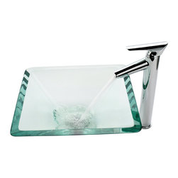 Kraus - Kraus Clear Aquamarine Glass Vessel Sink and Decus Faucet Chrome - *Add a touch of elegance to your bathroom with a glass sink combo from Kraus