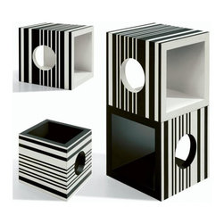 """40"""" Modular Form Cubic Missoni Home - These sleek geometric black and white storage cubes from Missoni Home are so versatile. Use a single or stack them to form nightstands, side tables, or even a bookcase."""